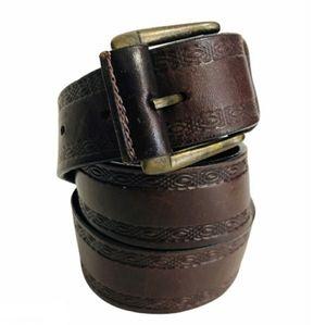 Vintage Tooled Leather Belt Brown Pewter Buckle S